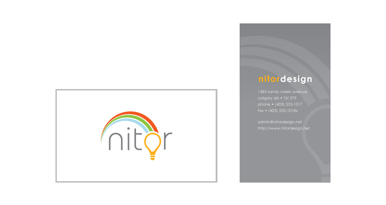 The Nitor logo placed onto the front and back of a business card