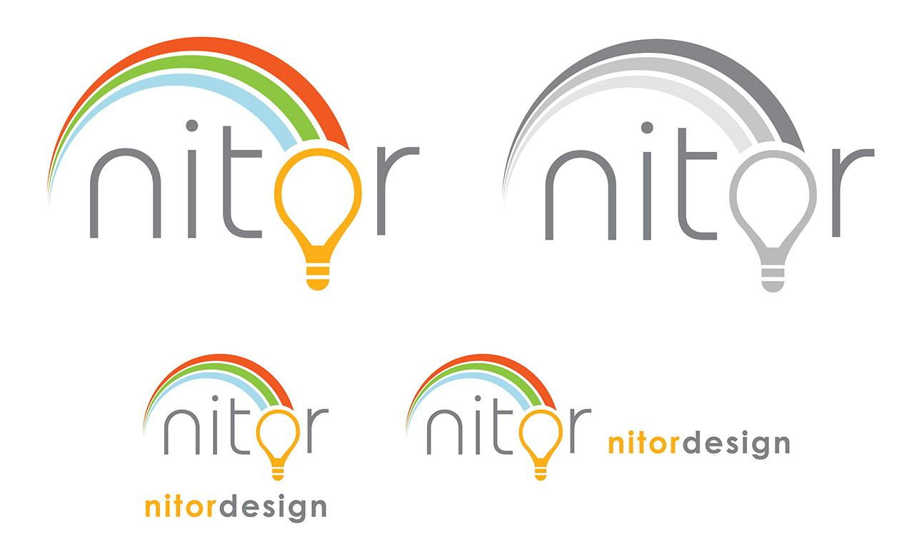Nitor logos in colour, black and white, and with logotype.