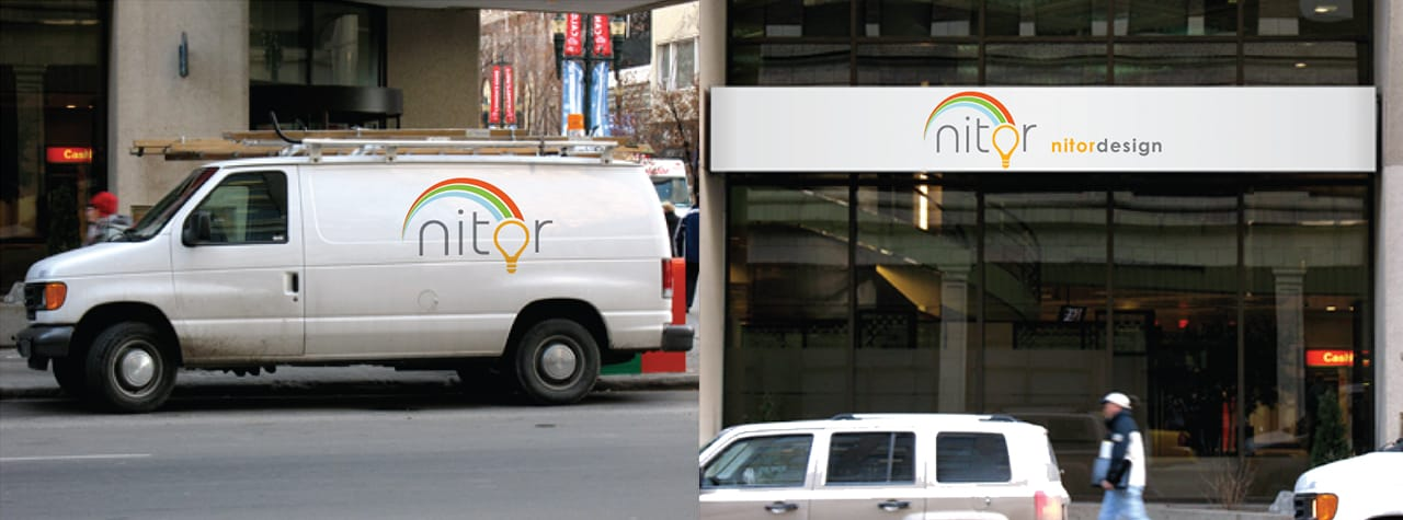 Nitor logo edited into a storefront sign and a van.