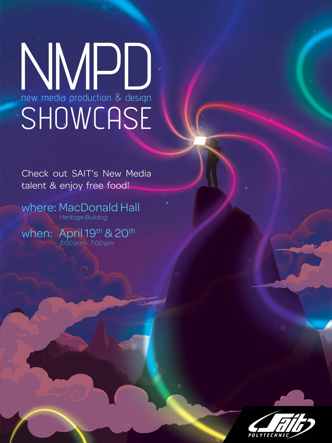 Final NMPD Poster, depicting a person at the top of a mountain.