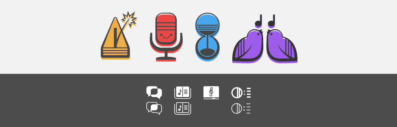Four large colourful icons and 4 small menu icons with active and inactive states.