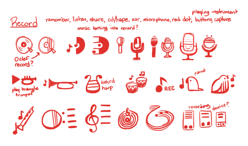Sketches of Record icon suggestions.