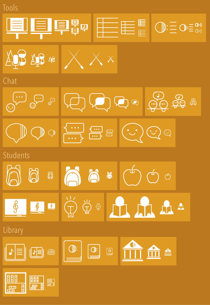 More refined options for Tools, Chat, Students, and Library icons.