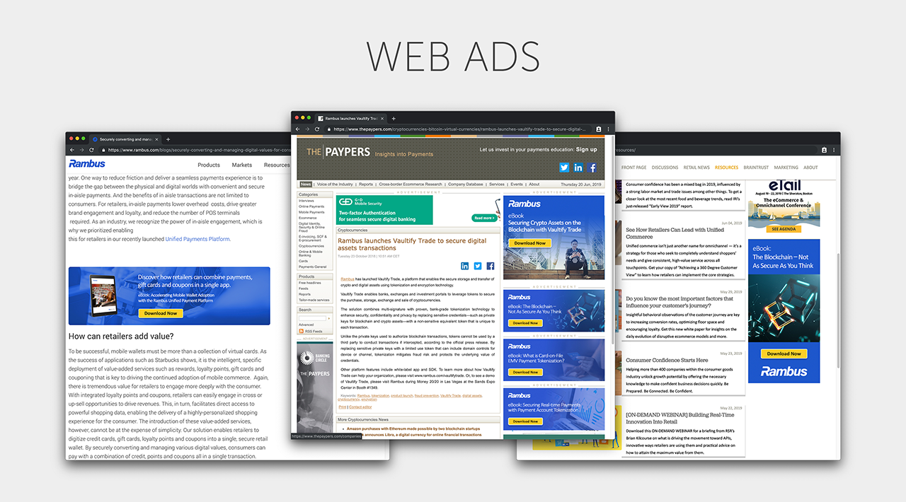 Advertisements for Rambus Inc. shown in multiple browser windows.