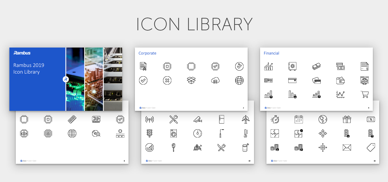 Sample pages from the Rambus Icon Library.