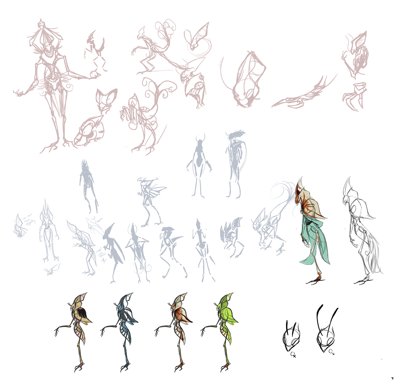 Concept sketches of the first alien species.