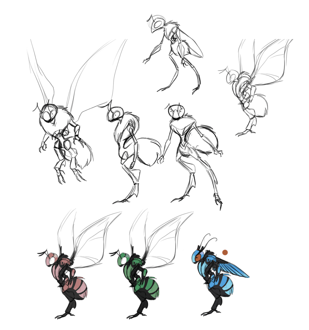 Concept sketches of the second alien species.