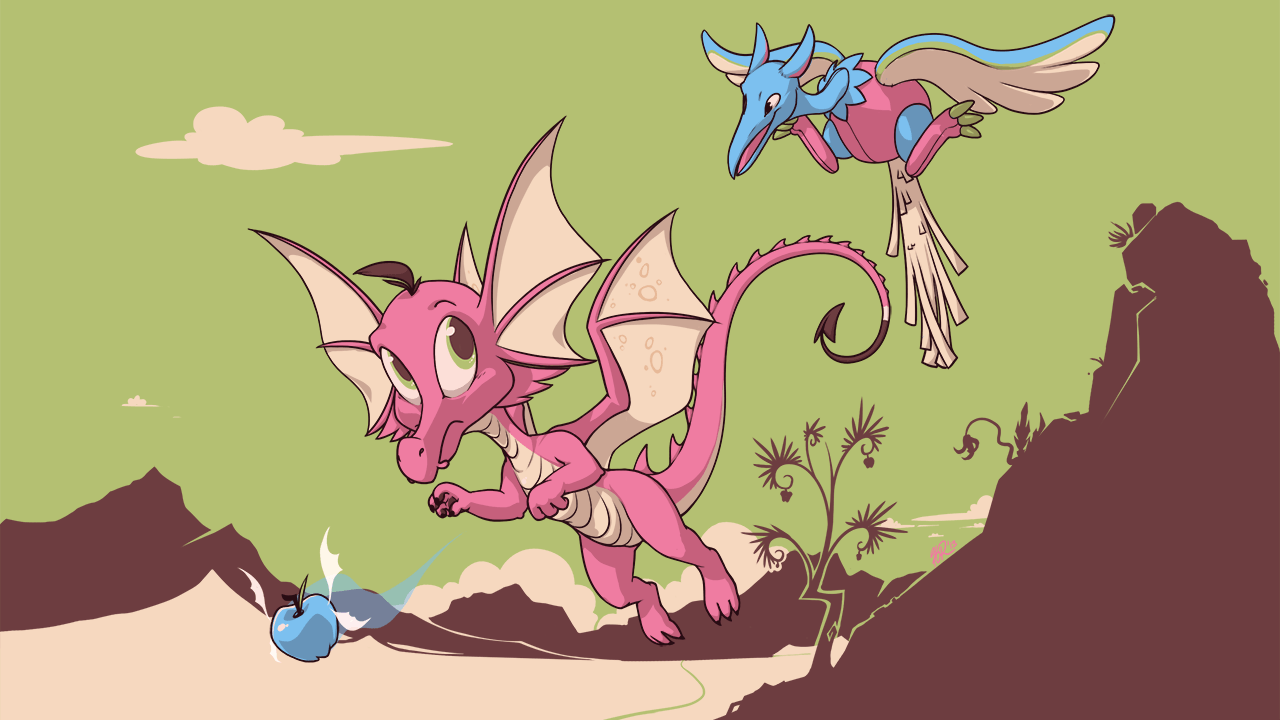 A Draik and Airax chase after a Faerie Apple in a mountainous landscape.