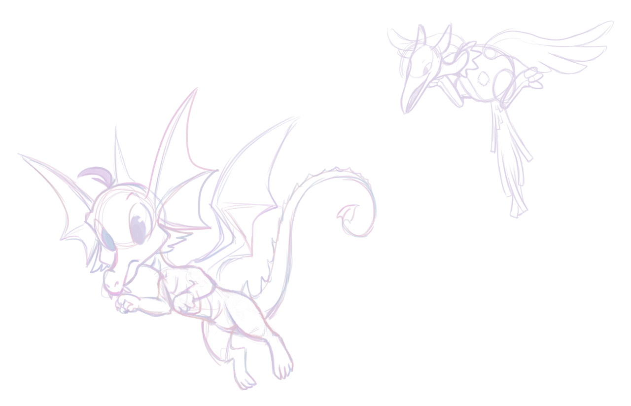 The original Draik and Airax sketches.