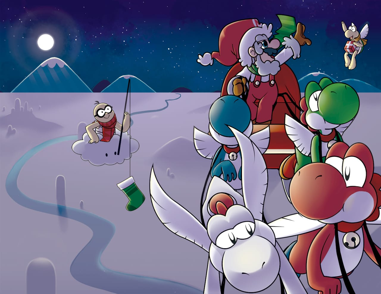 Mario dressed as Santa, riding a sleigh pulled by Yoshis. There is a Lakitu and a flying Koopa Troopa in the snowy background.