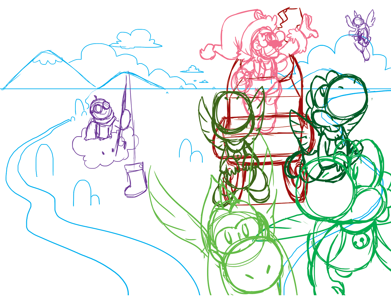 Source sketch for the Mario Christmas card.