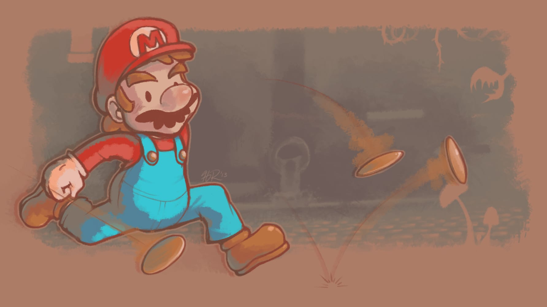 Mario chases after a coin in an underground setting.