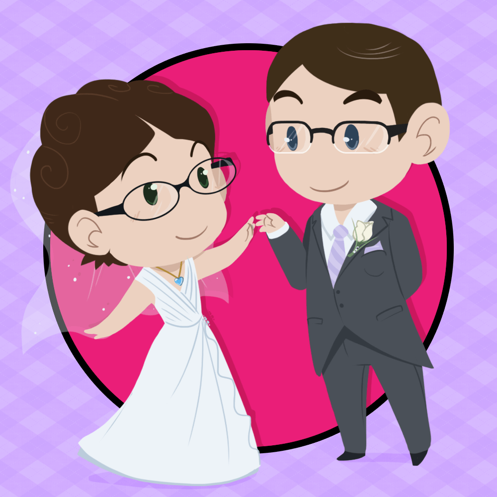 Cute, Doll-like versions of Heather and Ricky in wedding attire.