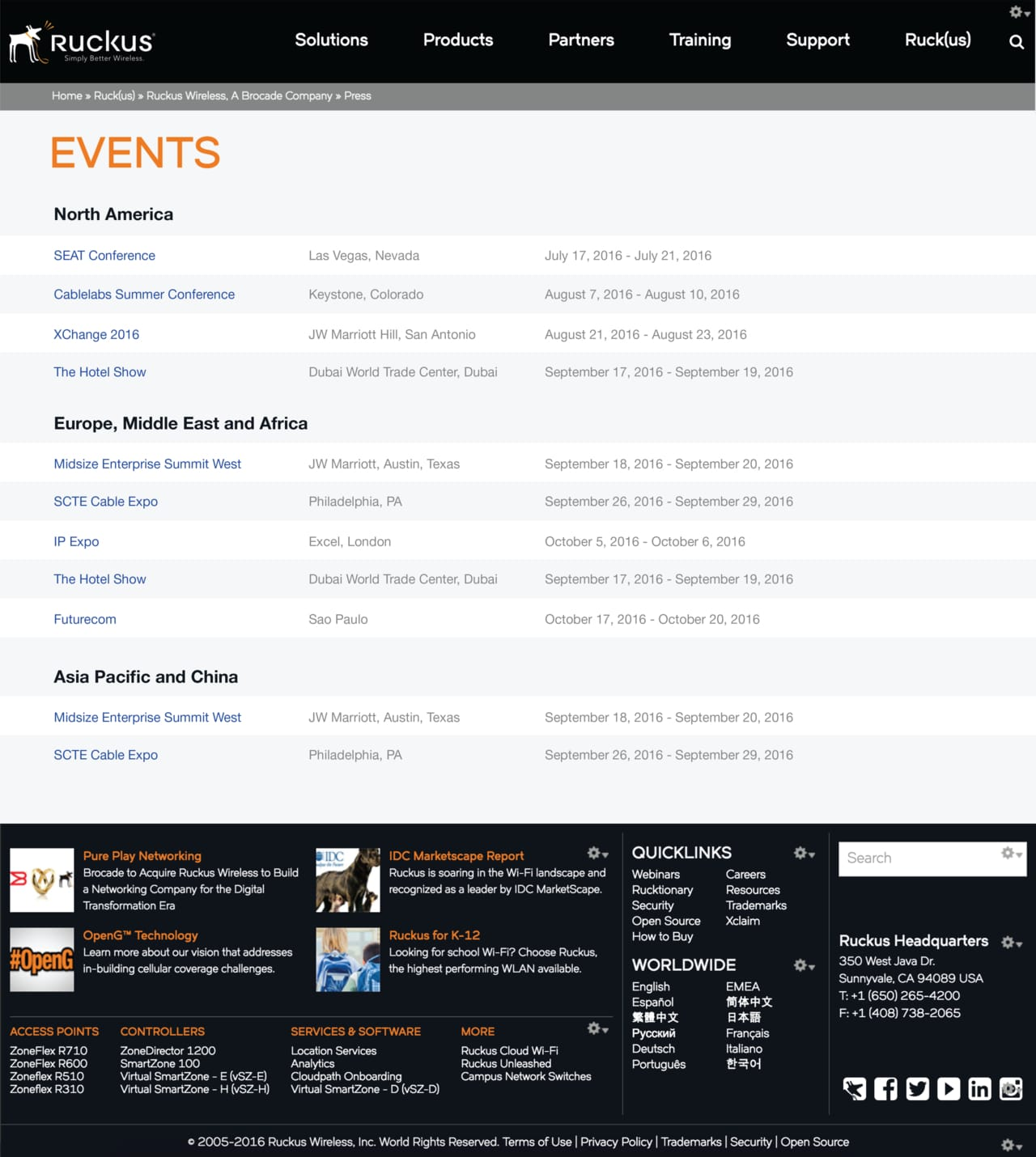 The Events page. There is further separation using region headings.